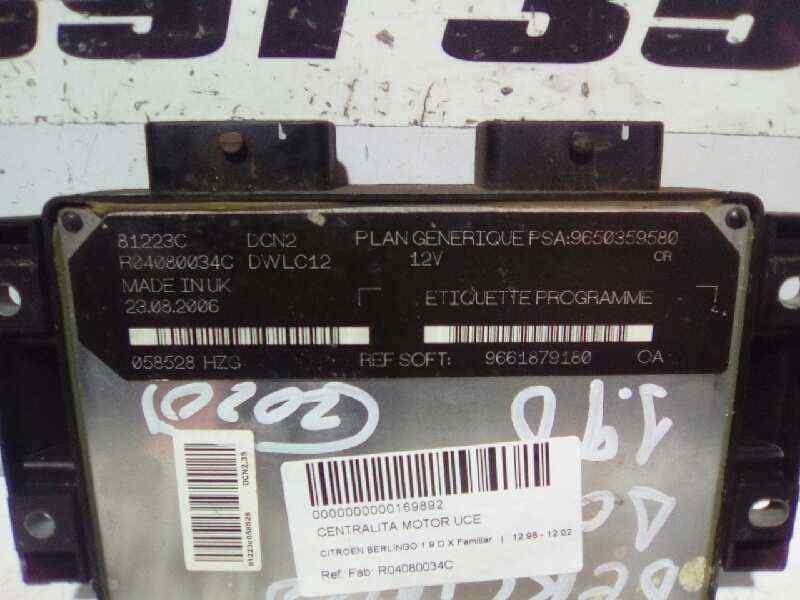 CENTRALITA MOTOR UCE CITROEN BERLINGO 1.9 D X Familiar   (69 CV) |   12.96 - 12.02_img_0