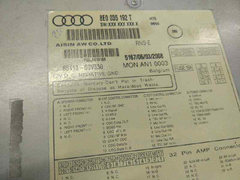 SISTEMA AUDIO / RADIO CD AUDI A4 AVANT (8E) 2.0 TDI   (140 CV) |   11.04 - 12.08_img_3