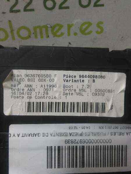 CAJA RELES / FUSIBLES PEUGEOT 307 (S1) XN  1.6 16V CAT (109 CV)     04.01 - 12.03_img_2