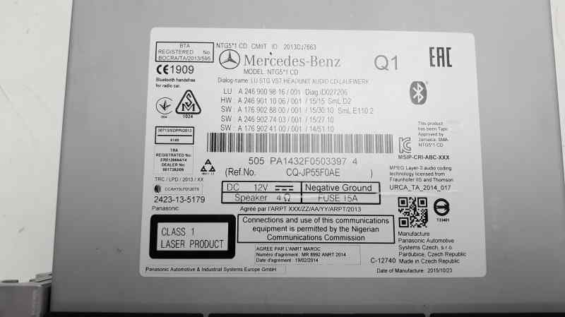 SISTEMA AUDIO / RADIO CD MERCEDES CLASE CLA (W117) CLA 180 (117.342)  1.6 CAT (122 CV) |   01.13 - 12.19_img_1