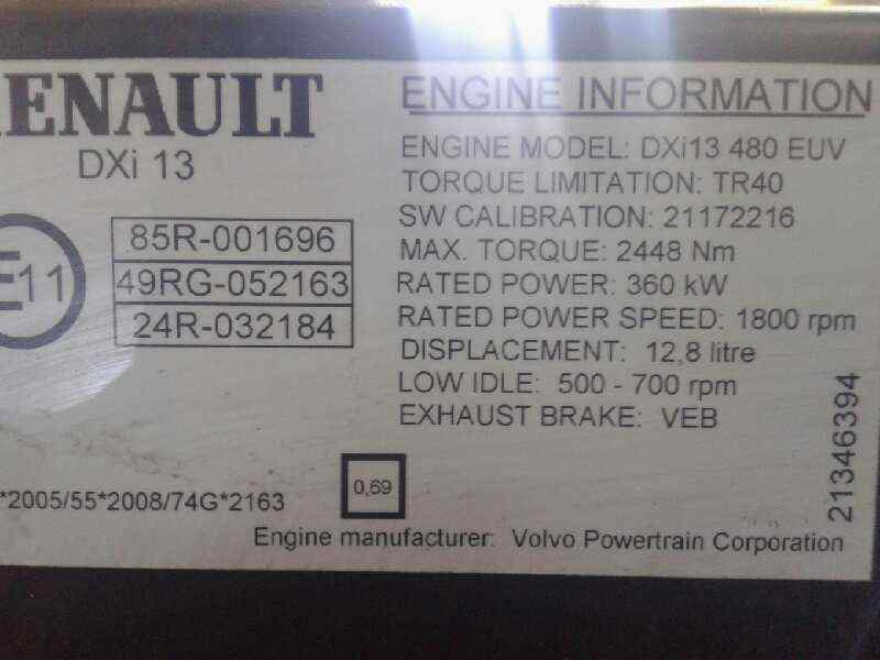 MOTOR COMPLETO RENAULT TRUCKS MAGNUM 480 DXI 480 DXI   |   ... _img_5