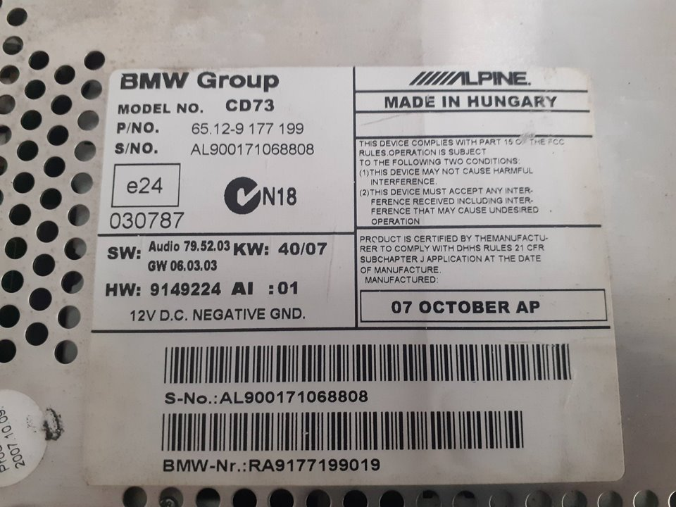 SISTEMA AUDIO / RADIO CD BMW SERIE 1 BERLINA (E81/E87) 118d  2.0 Turbodiesel CAT (143 CV) |   03.07 - 12.12_img_2