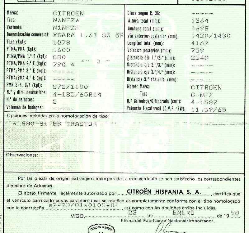 AFORADOR CITROEN XSARA BERLINA 1.6i SX   (88 CV) |   0.97 - ..._img_3