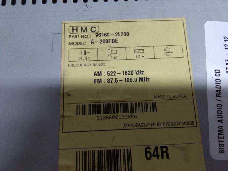 SISTEMA AUDIO / RADIO CD HYUNDAI I30 Comfort  1.6 CRDi CAT (90 CV)     07.07 - 12.12_img_1